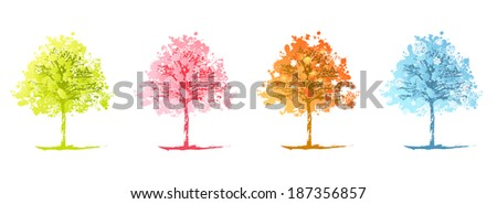 Set of Different Colours Abstract Season Trees Over White Background - stock photo