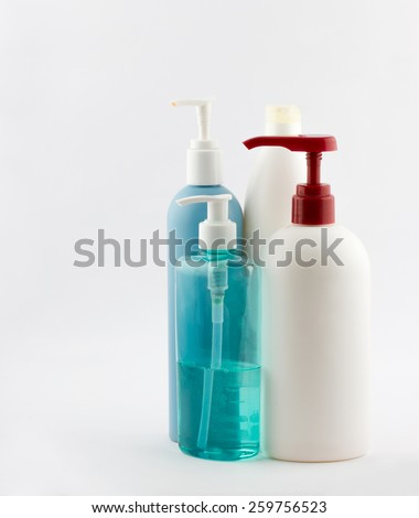 Set of different cosmetic products for personal care on white background - stock photo