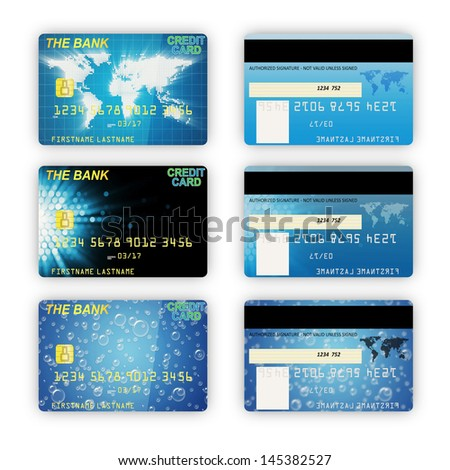 Set of Different Credit Cards isolated on white background - stock photo