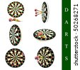 set of different darts images over white background - stock photo