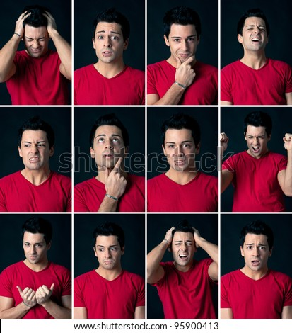 Set of different expressions of the same man on dark background. - stock photo
