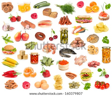 Set of different food isolated on white background - stock photo