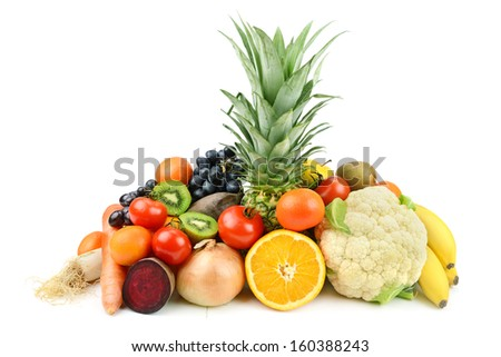 set of different fruits and vegetables  on white background - stock photo
