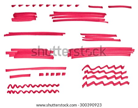 Set of different hand-drawn red marker stroke and lines isolated on white background - stock photo