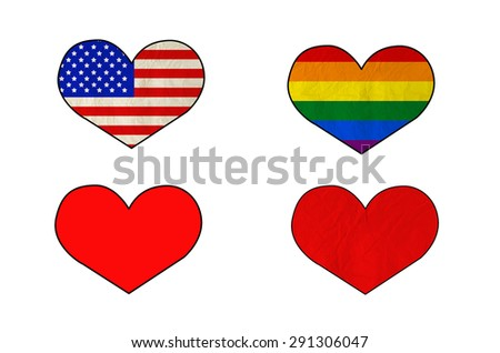 Set of different heart isolate on white with clipping path - Flag of United states of america, Rainbow flag, Red heart and red heart on old paper texture - stock photo