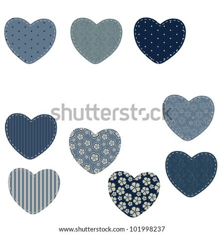 set of different hearts in denim jeans color, design elements - stock photo