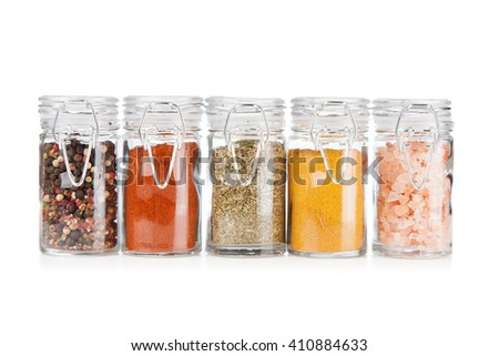 Set of different herbs and spice isolated on white background - stock photo