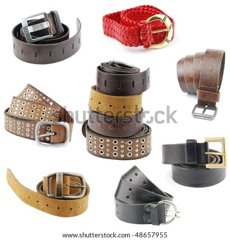 set of different leather belts isolated on white background - stock photo