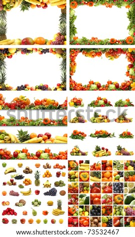 Set of different nutrition elements. Necessary for  food designs. - stock photo