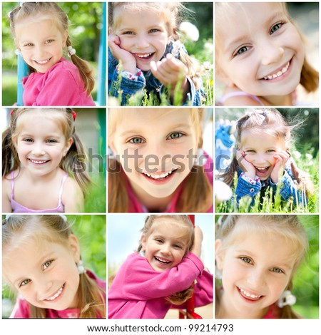 set of different photos of smiling little girl - stock photo