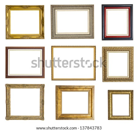 Set of different picture frames isolated on white background - stock photo