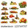 Set of different piles of fruits and vegetables over white background - stock photo