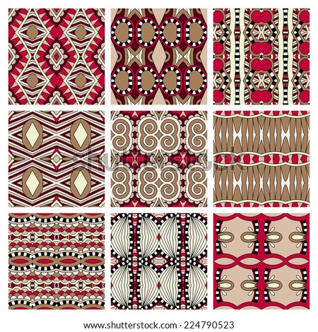 set of different seamless colored vintage geometric pattern, texture for wallpaper, web page background, fabric and wrapping paper design, raster version - stock photo