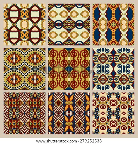 set of different seamless colored vintage geometric pattern, texture for wallpaper, web page background, fabric and wrapping paper design, beige color, raster version - stock photo