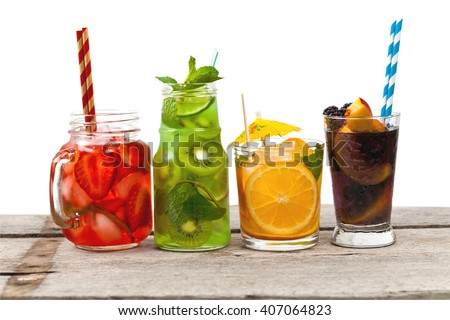 Set of different Summer Drinks, Cocktails with fruit on white background. Selective focus. - stock photo