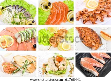 Set of different tasty fish dish - stock photo