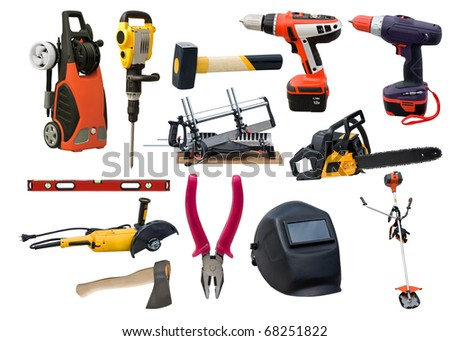 Set of different tools on a white background - stock photo