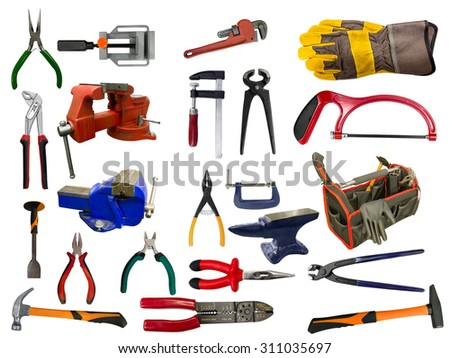 Set of different tools over white background - stock photo