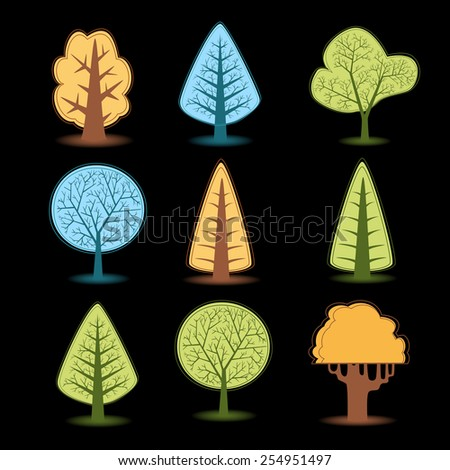 Set of different trees drawings, Christmas trees drawings of different colors. - stock photo
