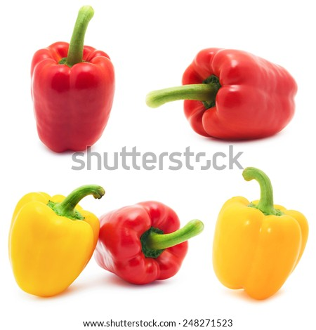 Set of different views of bell peppers isolate on white background - stock photo