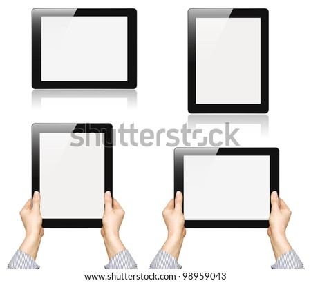 Set of digital tablet pc with businesswoman hands over white background. With clipping path. - stock photo