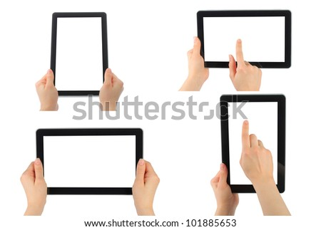 Set of digital tablet PC with hands isolated on white - stock photo