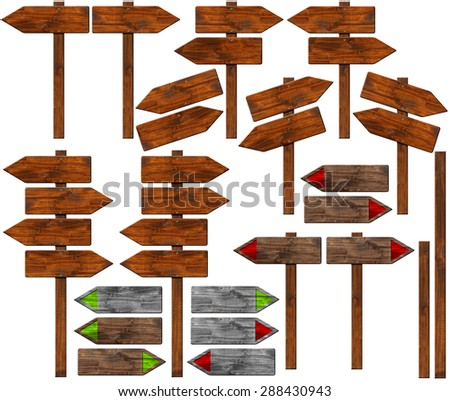 Set of Directional Wooden Signs with Pole / Collection of wooden signs with directional arrow and pole. Isolated on white background - stock photo