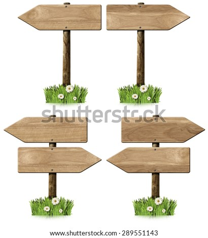 Set of Directional Wooden Signs with Pole / Collection of wooden signs with directional arrow and pole. Isolated on white background with green grass and daisy flowers - stock photo
