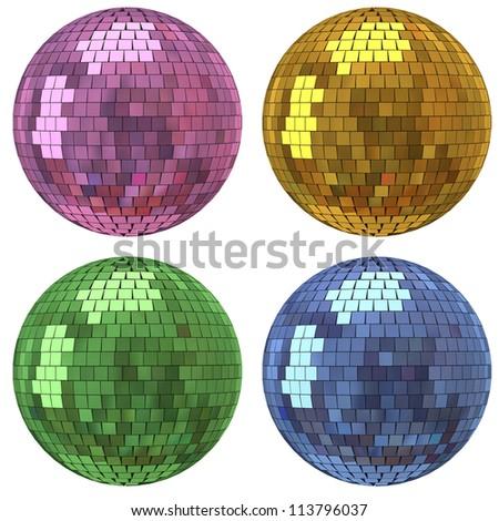 Set of disco mirror ball - stock photo
