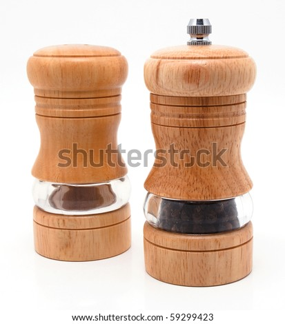 set of dishes for the spices and salt - stock photo