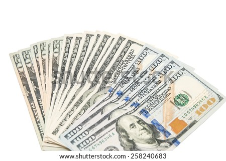 Set of 100 dollar banknotes isolated on white background with clipping path - stock photo