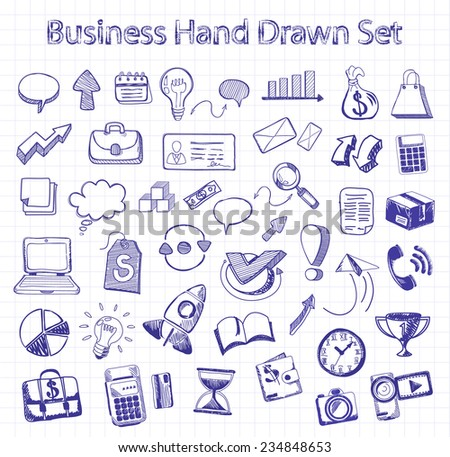 Set of doodle business management icons on background in the box. Sketch collection of man bubble graph letter badge magnifying glass lightbulb chart arrow bow card. Hand drawn set. Raster version - stock photo