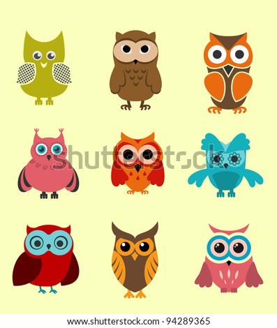 Set of doodle owls for funny decoration, such a logo. Vector version also available in gallery - stock photo