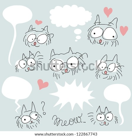 Set of doodled bespectacled cat faces and speech balloons - stock photo