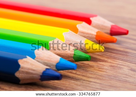 Set of drawing color crayons, arts education concept - stock photo