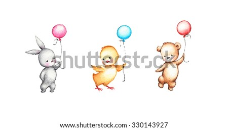 set of drawings of cute animals with balloons - stock photo