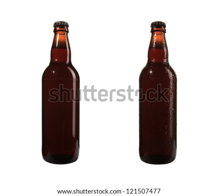 set of dry and wet beer bottle on white background - stock photo