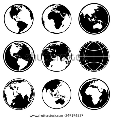Set of earth planet globe icons for web and app. - stock photo