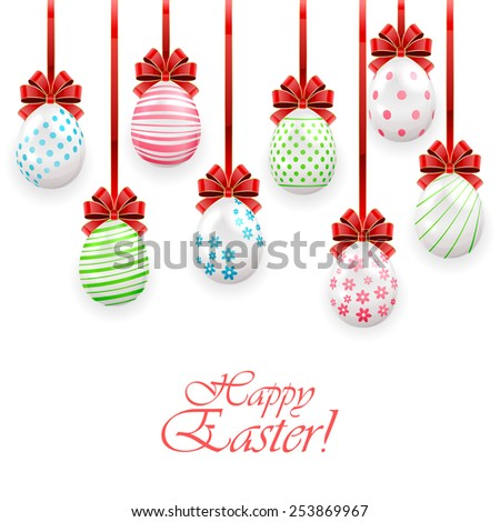Set of Easter eggs with bow on white background, illustration. - stock photo