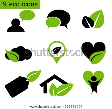 Set of 9 eco icons - stock photo