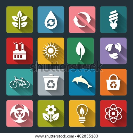 Set of Eco Icons in flat style with long shadows. White crown icons on colored basis. Ecology, Nature, Energy, Environment and Recycle Icons. Raster illustration. - stock photo