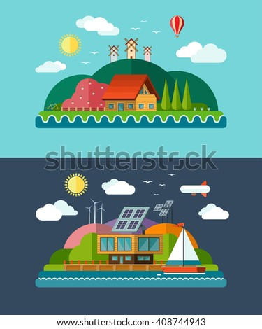 Set of ecology concept backgrounds with icons of nature, environment, green energy and eco life. Eco house, windmill, solar panels, air balloon, sailboat. Flat design illustration. Bitmap copy - stock photo