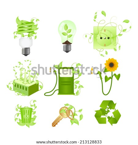 Set of ecology consepts and symbols. Isolated on a white. - stock photo