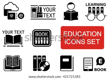 set of education icon with red accent - stock photo