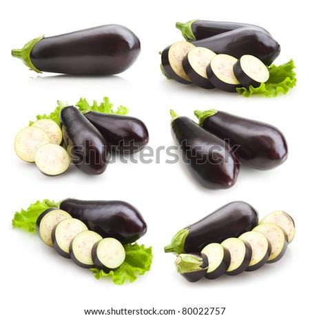 set of eggplant images - stock photo