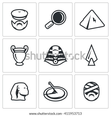 Set of Egypt Icons. Archaeology, Search, Research, Monument, Craft, Treasure, Weapon, Time, Shrine. Archaeologist, Magnifier, Pyramid, Amphora, Pharaoh, Spear, Sphinx, Sundial, Mummy - stock photo