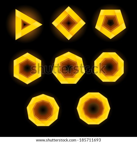 Set of eight polygonal shapes on black background. - stock photo