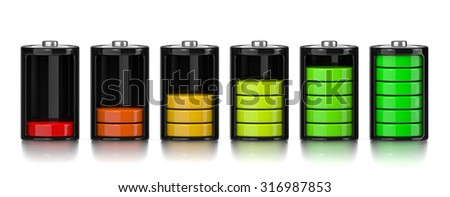 Set of Electric Battery Charge Level Chart Isolated on White Background 3D Illustration - stock photo