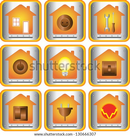 set of electric objects with house and metal button - stock photo