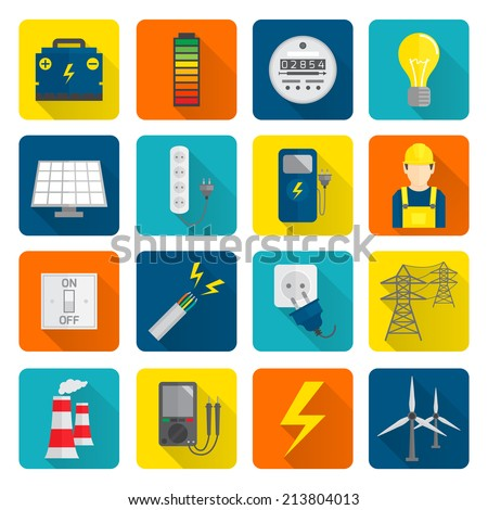 Set of electricity energy accumulator icons in flat style on squares with long shadows  illustration - stock photo